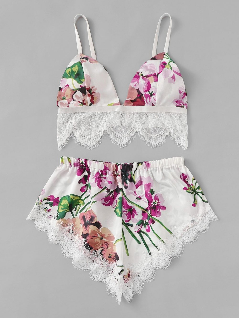 GORGEOUS Eyelash Lace Trim Floral Lingerie Set